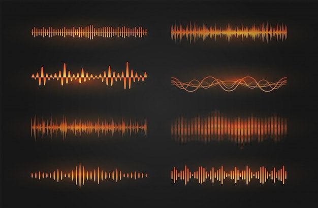 Sound waves icon set. luminous lines depicting a sound or radio wave, music equalizer or digital cardiogram, gui design element template. isolated   illustration.