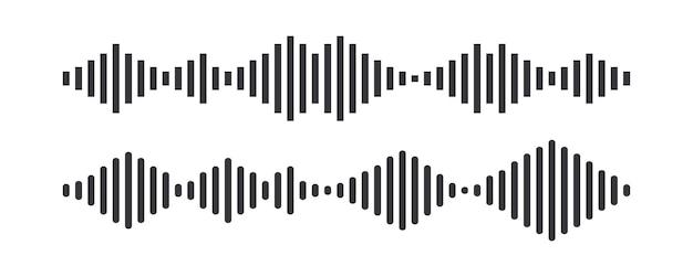 Звуковые волны, символ формы волны музыкальной дорожки, звуковой ритм, изолированный элемент дизайна с технологией цифрового эквалайзера, панель консоли, импульсные музыкальные ритмы, монохромная амплитуда вибрации. векторные иллюстрации