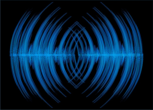 Sound waves oscillating dark black light background