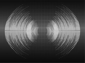 Sound waves oscillating dark black light