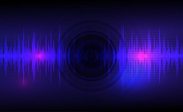 Звуковые волны, колеблющиеся темно-синим и светло-розовым цветом с круговой вибрационной точечной диаграммой
