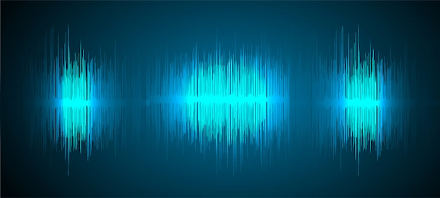 Sound waves oscillating dark blue light background