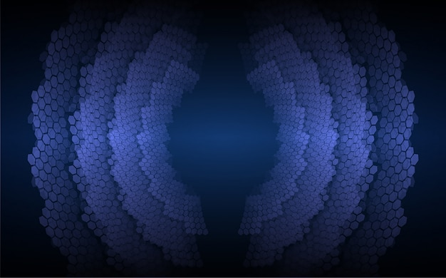 Sound waves oscillating dark blue light background