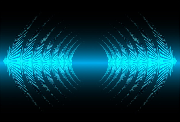 Sound waves oscillating dark blue light