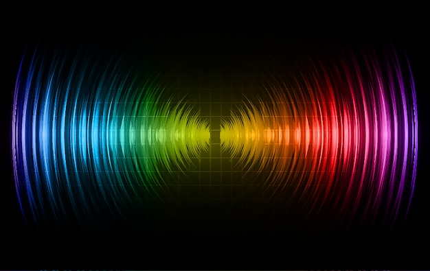 Sound waves oscillating dark blue red green light