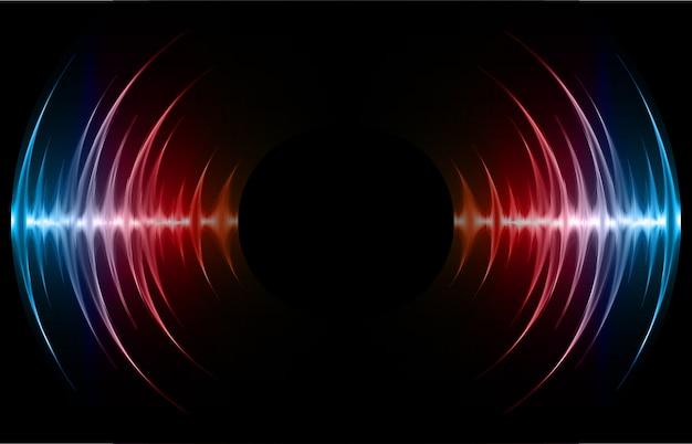 Sound waves oscillating dark blue red light background