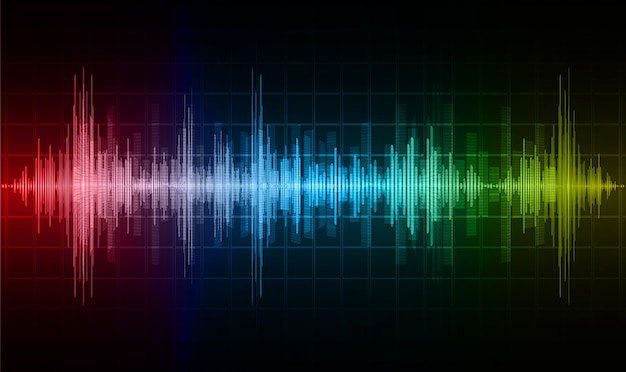 Sound waves oscillating dark blue red yellow light