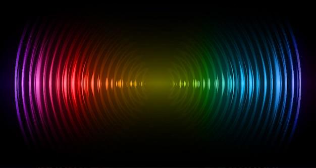 暗い青赤黄色の光を振動させる音波