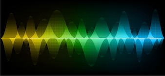 Sound waves oscillating dark blue yellow green light