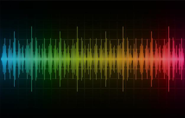 Звуковые волны, колеблющиеся темно-синий желтый розовый свет