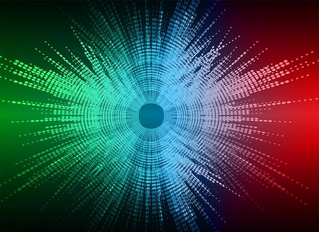 Sound waves oscillating dark colorful light background