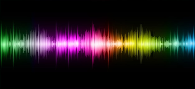 Sound waves oscillating dark colorful light