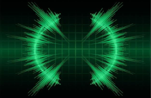 Sound waves oscillating dark green light background