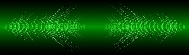 Sound waves oscillating dark green light banner background