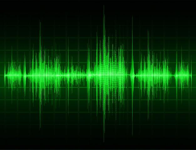 Sound waves oscillating dark green light