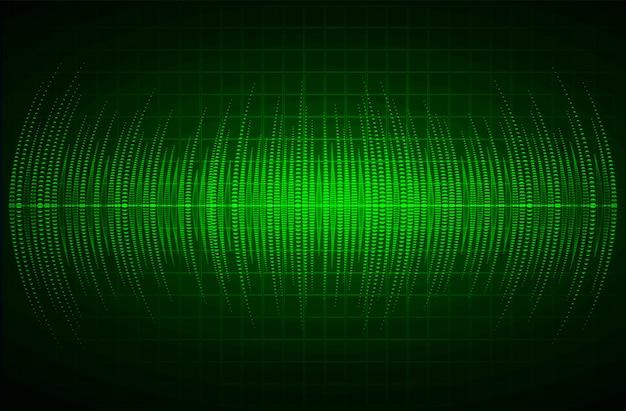 Звуковые волны, колеблющиеся темно-зеленый свет