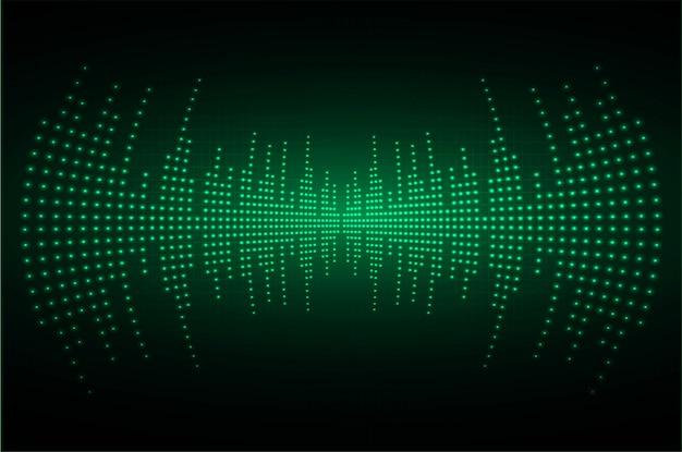Звуковые волны, колеблющиеся темно-зеленого света