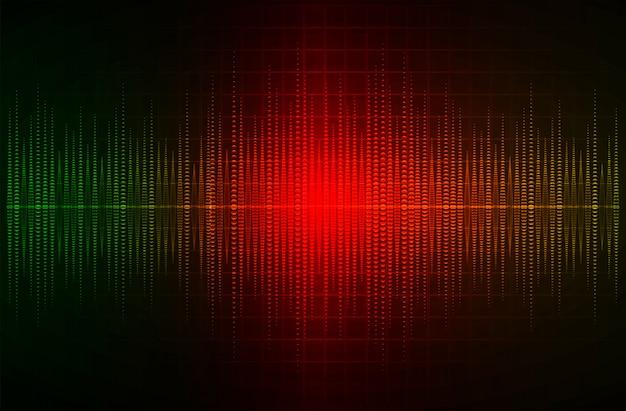 Звуковые волны, колеблющиеся темно-зеленый красный свет