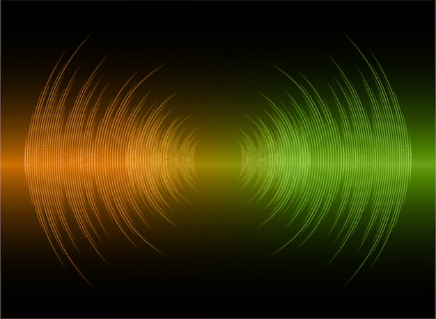音波が濃いオレンジ色の緑色の光を振動