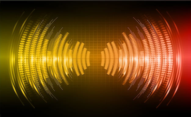 Sound waves oscillating dark orange red light background