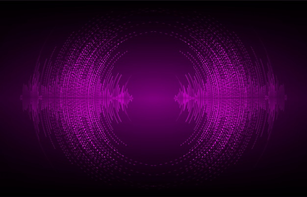 Sound waves oscillating dark purple light