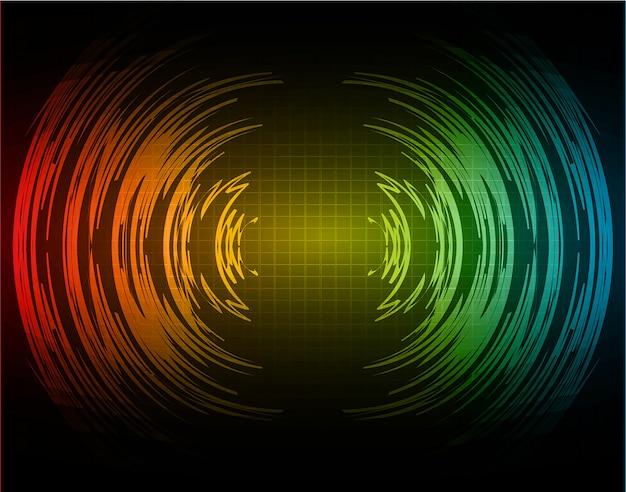 Sound waves oscillating dark red blue light