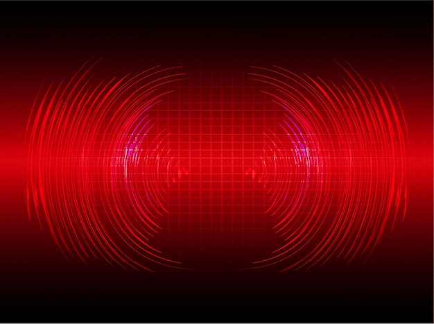Sound waves oscillating dark red light background