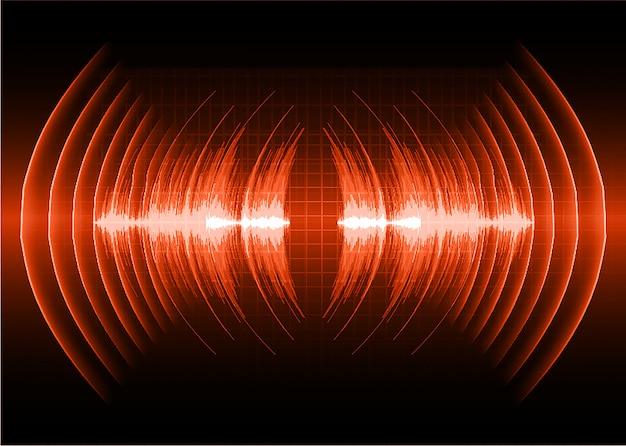 Sound waves oscillating dark red light