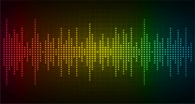 Sound waves oscillating dark red yellow blue light