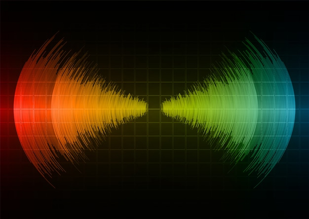Звуковые волны колеблющиеся темно-красный желтый синий свет