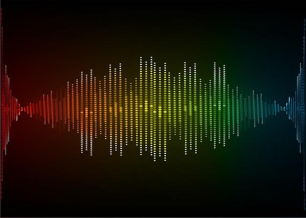 Sound waves oscillating dark red yellow green light
