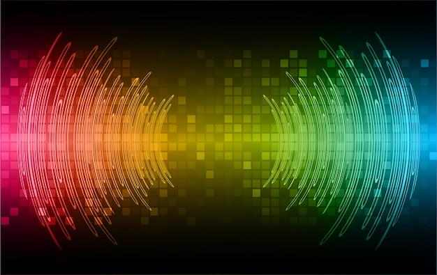 Звуковые волны, колеблющиеся темно-желтый синий розовый свет