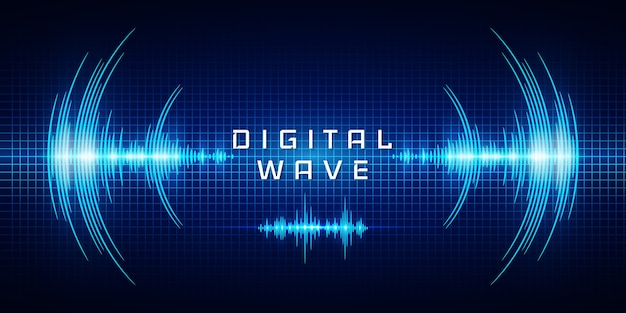 Sound waves oscillating glow light, digital wave, abstract technology background .