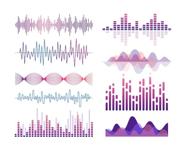 Набор звуковых волн. визуализация звуковых эффектов. эквалайзер музыкального плеера. песня, вибрация голоса