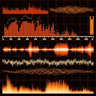 Sound waves set. music background.