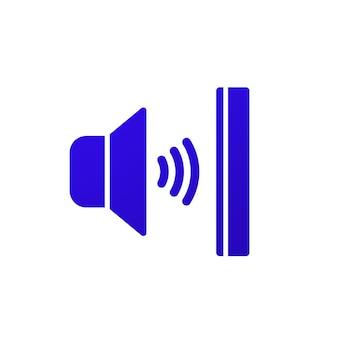 Значок звукоизоляции на белом, векторном знаке