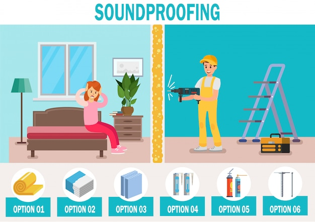 Soundproofing materials vector ad banner template