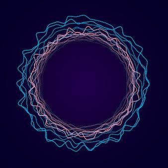 Soundwave形式のネオン円形。オーディオイコライザー