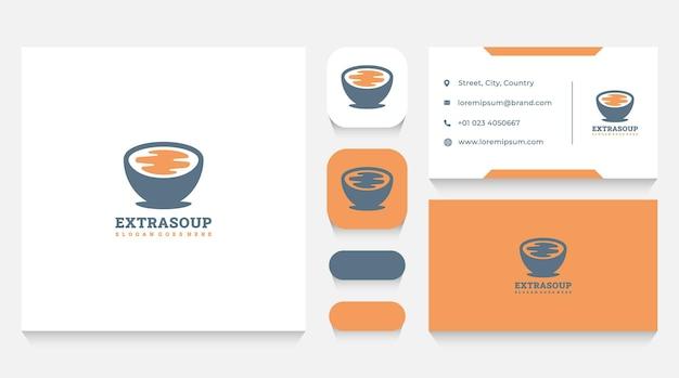 Шаблон логотипа суп и ресторан и визитная карточка
