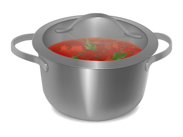 透明なガラス蓋付きの金属鍋のスープ。孤立した画像。ベクトルイラスト。
