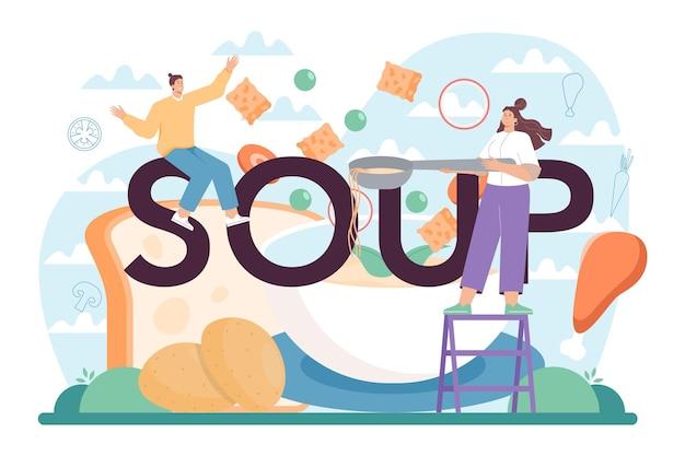 Суп типографский заголовок. вкусная еда и готовое блюдо. куриное мясо, лук и картофель, ингредиент моркови. домашний ужин или обед в тарелке. плоский рисунок