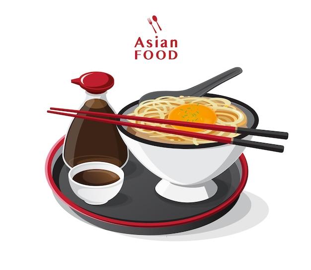 Soup with noodles, japanese ramen noodle