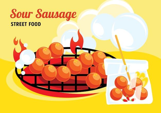 Sour sausage street food colorful illustration