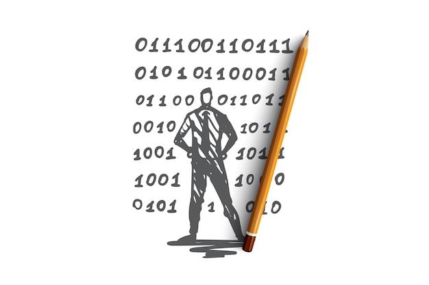 ソースコード、ソフトウェア、プログラム、開発、コンピューターの概念。手描きのコンピュータープログラマーとコードコンセプトのスケッチ。