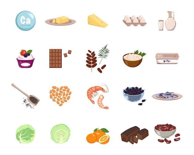 Источник кальция. набор молочных продуктов, орехов и сухофруктов.