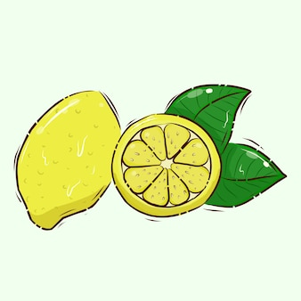 Source of vitamin c. vector illustration. limon. citrus fruits. cartoon.