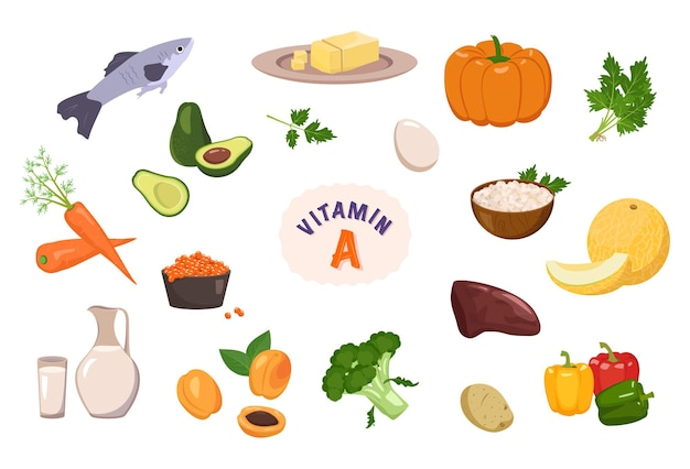Source of vitamin a collection of vegetables fruits and herbs diet food healthy lifestyle the compos...
