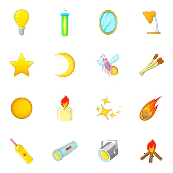 Sources of light icons set