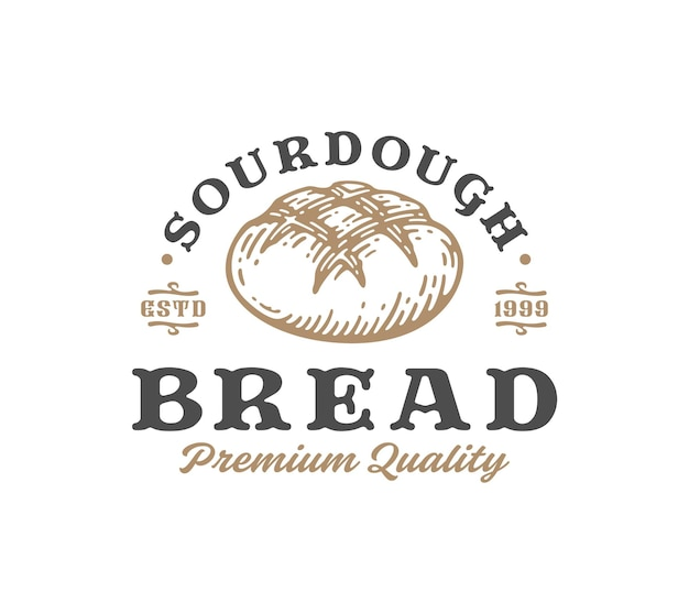 Sourdough bread abstract sign, symbol or logo template.