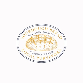 Sourdough bread frame badge or logo template. hand drawn loaf sketch with retro typography and borders. vintage premium oval emblem. isolated.